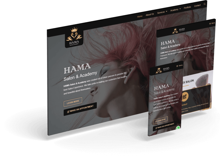 HAMA Salon & Academy Website Makeup